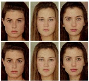 """Beauty machine"" enhancements. The real ""average"" faces are on the top and the ""knockout"" faces are on the bottom; Image courtesy of American friends of Tel-Aviv University"